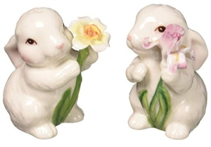 Cute Bunny Rabbits Couple with Flowers Salt and Pepper Shakers