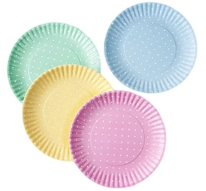 Pastel Polka Dot Picnic Dinner Plate 9 Inch Melamine Set of 4 Pink Blue Yellow Green