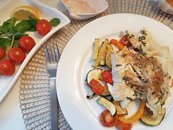 Baked Haddock with Sun-Dried Tomato Pesto, Zucchini and Orange Pepper