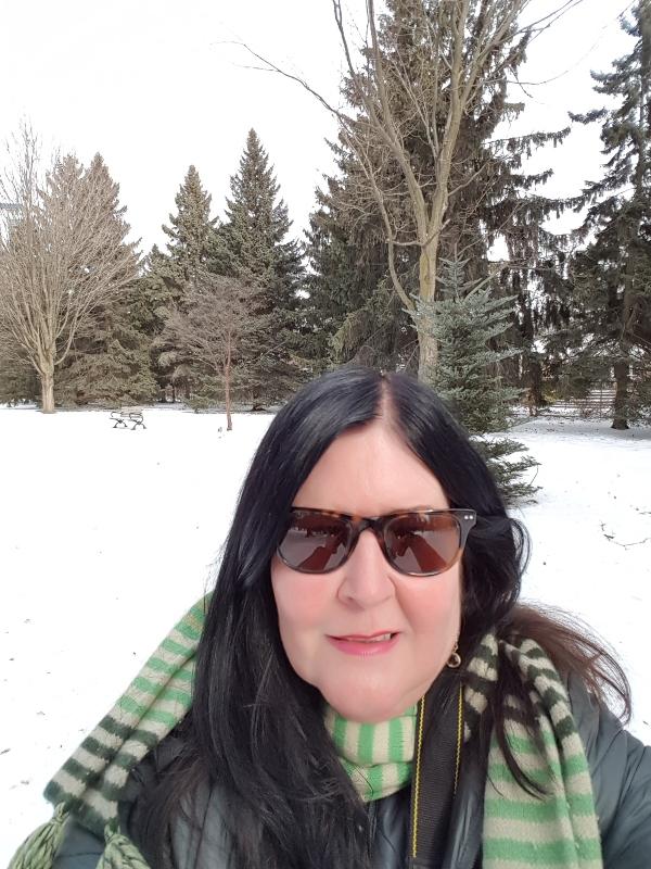 Me enjoying the winter at Rosetta McClain Gardens in Toronto.
