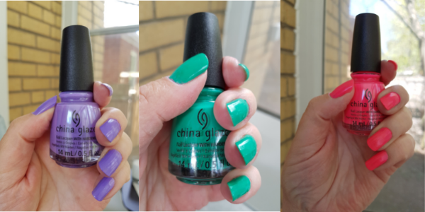 From left to right: Left My Heart in Havana; Head To Moji-Toes; and Guava Mama from the China Glaze Havana Nights Collection.